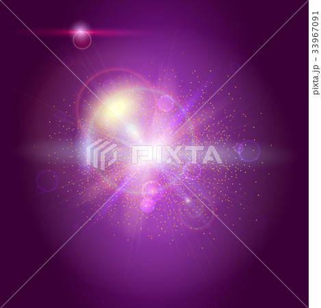 Blurred light rays and lens flare backdrop. Glow 33967091