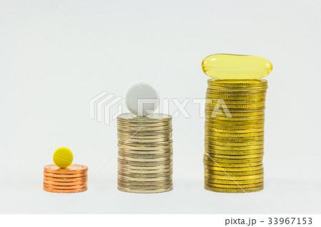 Medicine and money on white backgroundの写真素材 [33967153] - PIXTA
