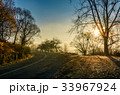countryside road in late autumn fog at sunrise 33967924
