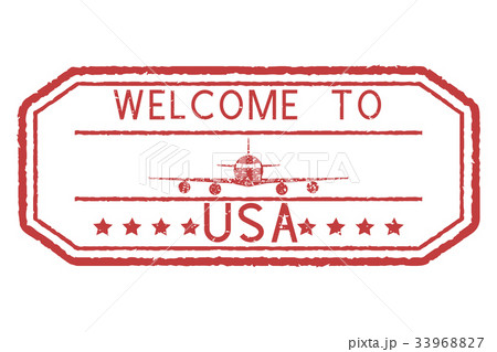 Welcome to USA red stamp. With airplane signのイラスト素材 [33968827] - PIXTA