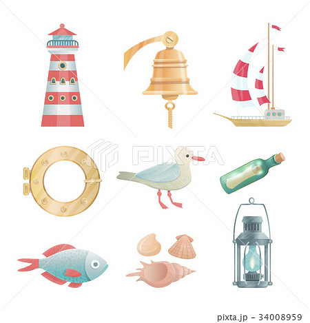 Cartoon vector nautical elements 34008959