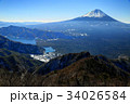 御坂山地・王岳から見る富士山と西湖 34026584