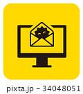 ウイルスメール ウイルス パソコンのイラスト 34048051