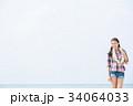 若い女性 旅行  34064033