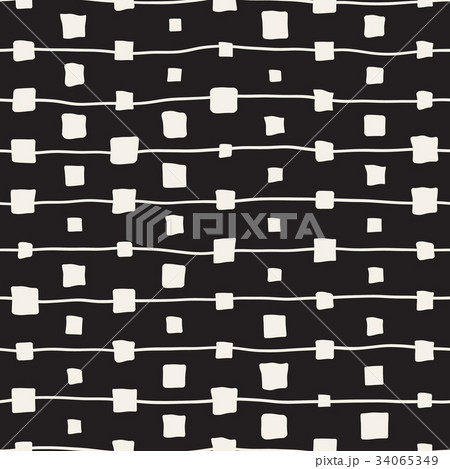Vector Seamless Childlike Pattern. Monochrome Handのイラスト素材 [34065349] - PIXTA