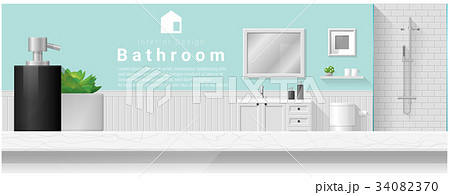 Interior design with table top and Modern bathroomのイラスト素材 [34082370] - PIXTA