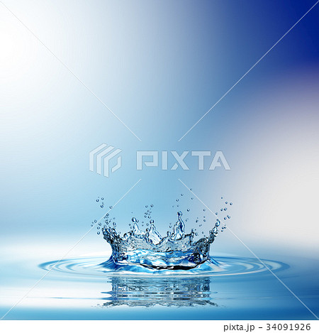 Water splash in dark blue color with a drop of 34091926