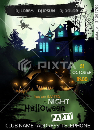 halloween night event flyer party template のイラスト素材 34097700