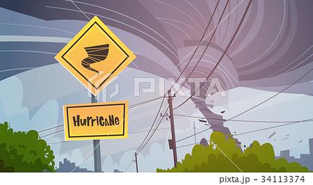 Road Sign Of Tornado Danger Hurricane Landscape Of 34113374