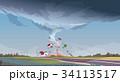 ハリケーン 景色 風景のイラスト 34113517