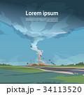 ハリケーン 景色 風景のイラスト 34113520