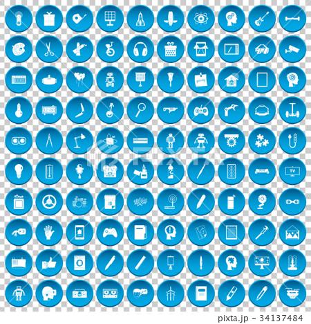 100 creative idea icons set blue 34137484
