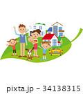 葉に乗る家族と家 34138315