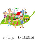 葉に乗る三世代家族と家 34138319