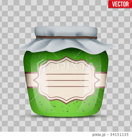 Glass Jar with kiwi jam. 34151135