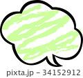ふきだしクレヨン 緑 34152912