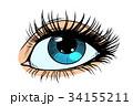 目 眼 まつ毛のイラスト 34155211