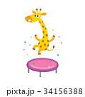 vector flat giraffe jumping on trampoline 34156388
