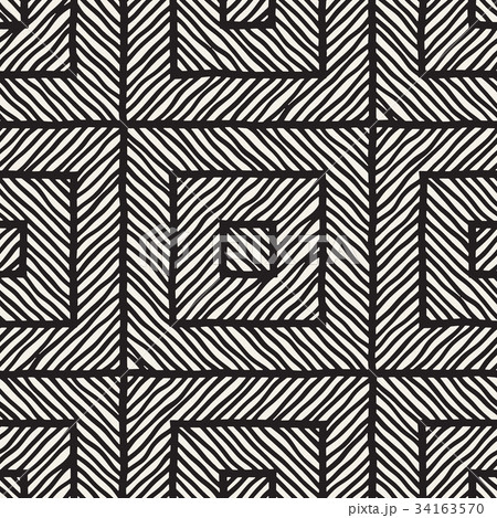 Vector seamless hand drawn pattern. Zigzag andのイラスト素材 [34163570] - PIXTA