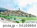 町並み 水彩画 トレドの丘のイラスト 34169664