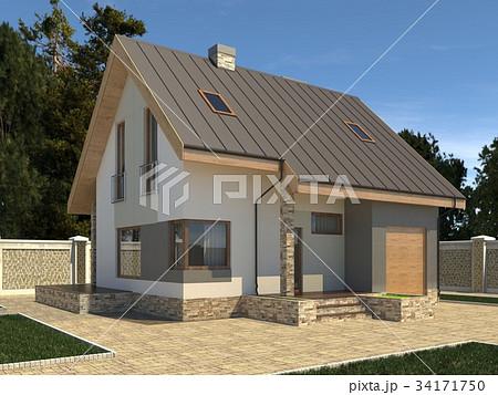 House Photo Realistic Render 3D Illustration 34171750