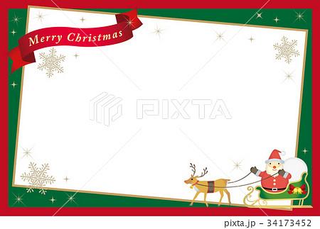 サンタクロースとトナカイのクリスマスカード 34173452