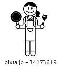 料理する女性 34173619