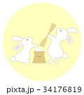 うさぎ 餅つき ベクターのイラスト 34176819