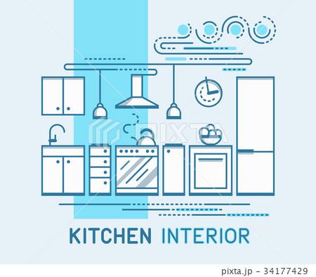 Kitchen Interior Designのイラスト素材 [34177429] - PIXTA