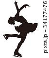シルエット フィギュアスケート 女子 レイバックスピン 34177476
