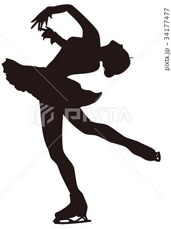 シルエット フィギュアスケート 女子 レイバックスピンのイラスト素材
