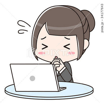 パソコンの前で祈る女性 34177643