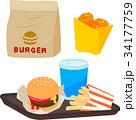 ハンバーガー フライドポテト ファストフードのイラスト 34177759