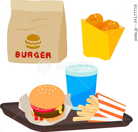 ハンバーガーとポテトとドリンク 34177759