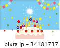 HAPPY BIRTHDAY CARD ブルー 34181737