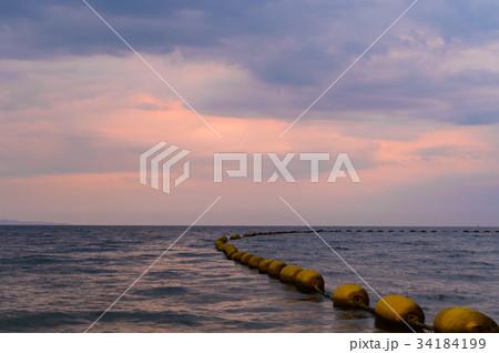 Dramatic colorful sunset and sunrise sky 34184199