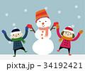 冬のイメージ 子供と雪だるま 34192421