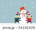 冬のイメージ 子供と雪だるま 34192426