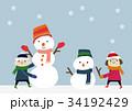 冬のイメージ 子供と雪だるま 34192429