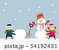 冬のイメージ 子供と雪だるま 34192431