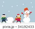 冬のイメージ 子供と雪だるま 34192433