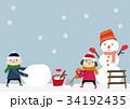冬のイメージ 子供と雪だるま 34192435