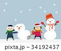 冬のイメージ 子供と雪だるま 34192437