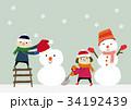 冬のイメージ 子供と雪だるま 34192439