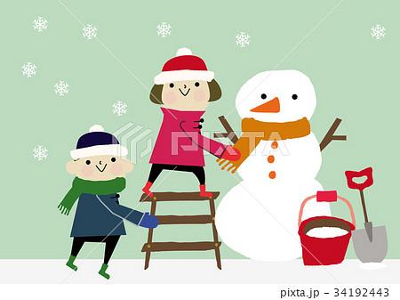 冬のイメージ 子供と雪だるま 34192443