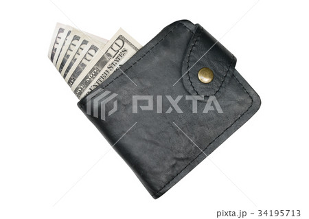 Money in wallet isolated on white backgroundの写真素材 [34195713] - PIXTA