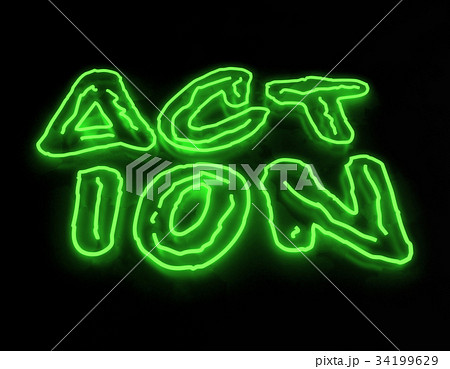3d render action neon sign isolated on blackのイラスト素材 [34199629] - PIXTA
