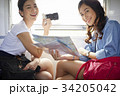 two young girls are smiling, holing map and digital camera on a train 34205042