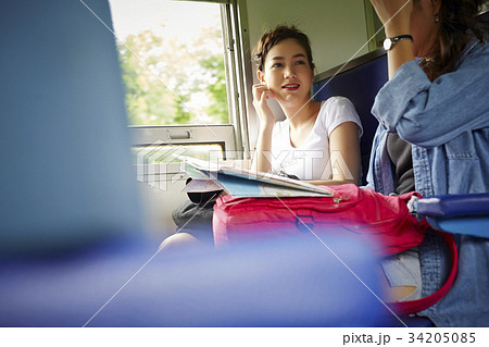 two lovey girls is travelling by train and talking 34205085