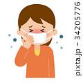 咳払いをする女性 34205776